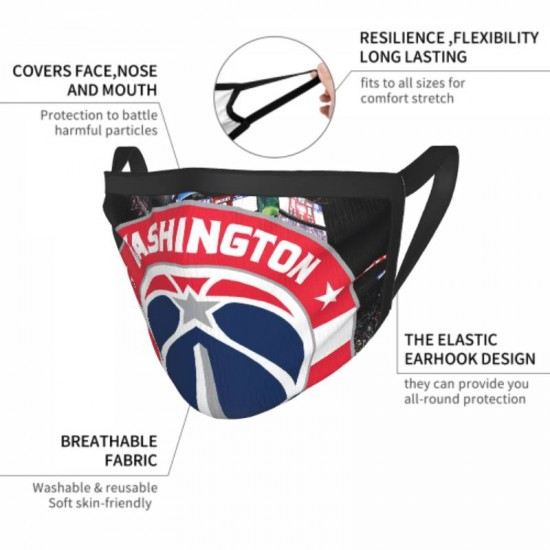 Face Cover, NBA Washington Wizards Adult black border face masks #317341 for Snow Or Sunny Days